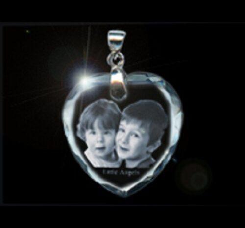 Photo Crystal Heart Pendant