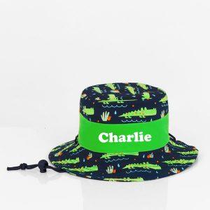 personalised sun hat crocodile