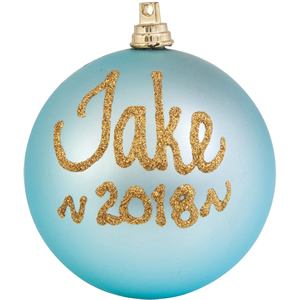 personalised christmas bauble baby bleu