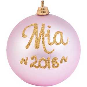 personalised christmas bauble baby pink