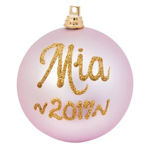 personalised christmas baubles baby pink