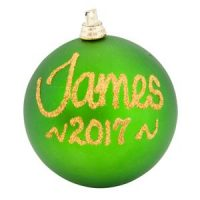 personalised christmas baubles green
