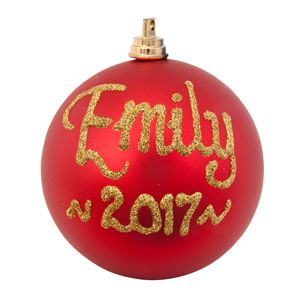 personalised christmas baubles red