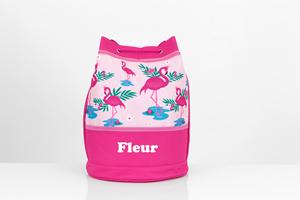 personalised flamingo swim bag