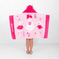 personalised hooded beach towel ballerina