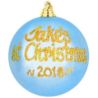 1st Christmas persoanlised bauble blue