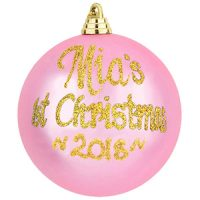 personalised 1st christmas pink bauble