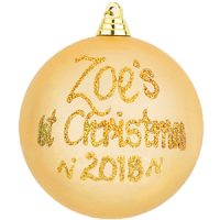 personalised 1st christmas baubles gold