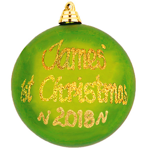 personalised 1st christmas bauble green