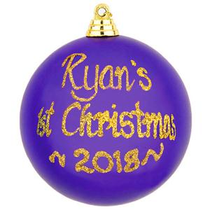 personalised 1st christmas bauble purple