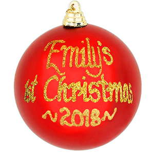 personalised 1st christmas bauble red