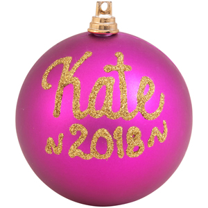 pesonalised christmas bauble fuschia