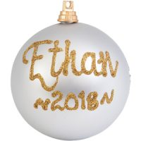 personalised christmas bauble silver