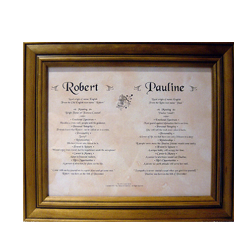 PERSONALISED NAME MEANING FRAMED